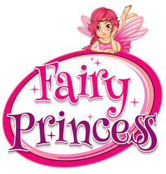 Font design for word fairy princess with pink vector