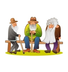 Funny three old mens sitting on the bench Old man vector image