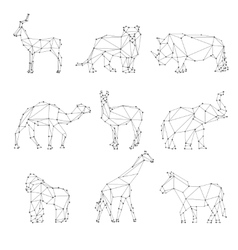 Geometric animals silhouettes vector