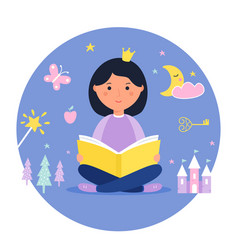 Girl reading a book fantasy and fairy tale vector
