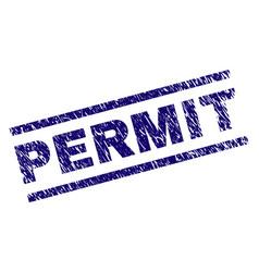 Grunge textured permit stamp seal vector