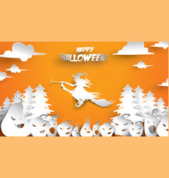 halloween background with witch pumpkin fir vector image