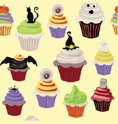 Halloween cupcake bright colorful pattern vector