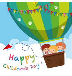 Happy childrens day poster with kids on balloon vector