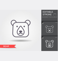 head bear line icon with shadow vector image