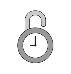 icon concept opened clock padlock vector image