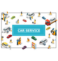 Isometric car and tire service concept vector