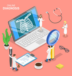 isometric flat concept online diagnosis vector image
