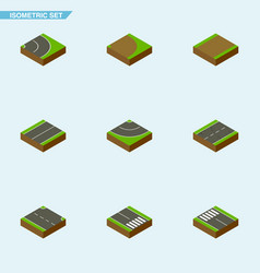 Isometric road set of footpath road plane and vector