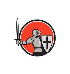 Knight Wielding Sword Circle Cartoon vector image