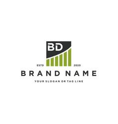 Letter bd chart financial logo design vector