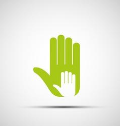 Logo of adult and children hands vector