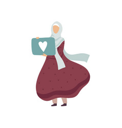 Muslim woman holding signboard with heart modern vector