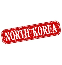 North Korea red square grunge retro style sign vector image