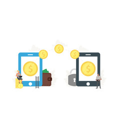 office people sending and receiving money wireless vector image