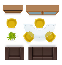 office top view furniture realistic tables vector image