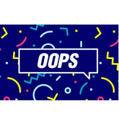 Oops in design banner template for web vector