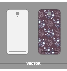 Phone Cover Flowers On Purple vector