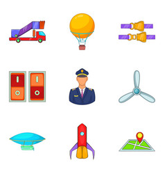 piloting icons set cartoon style vector image