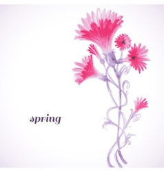 Pink flowers watercolor painting spring background vector