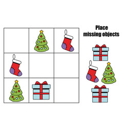 Place missing objects in grid kids activity sheet vector