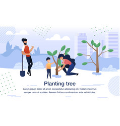 planting tree with family banner poster vector image