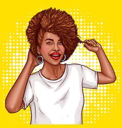 pop art a black woman vector image
