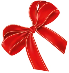 Realistic Red Bow With Light Lines vector image