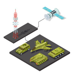 remote control of military equipment with wi-fi vector image
