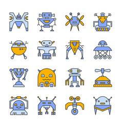 Robot transformer line icon set editable stroke vector