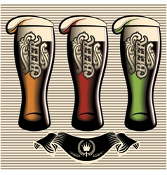 set of different kinds glasses of beer vector image