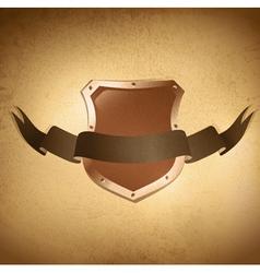shield over grunge background vector image