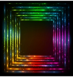 Shining lights rainbow colors frame vector image