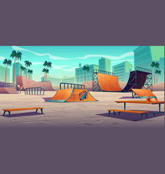 Skate park with ramps in tropical city vector
