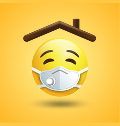 Stay home sticker emoji house rowith emojis in vector