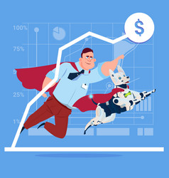 successful business man in red cape with robot dog vector image