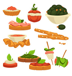 Tasty nutritious snack with vegetables and sauces vector