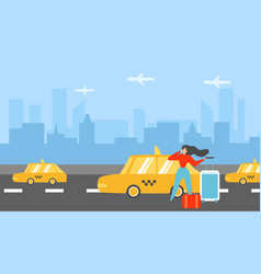 Traveling woman calling taxi flat concept vector