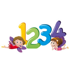 two fairies and numbers one to four vector image