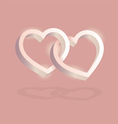 two hearts intertwined on pink background vector image