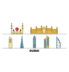 United arab emirates dubai city flat landmarks vector