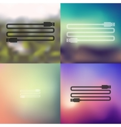 Usb icon on blurred background vector