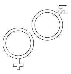 Venus and mars symbol the black color icon vector