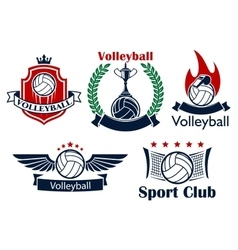 Volleyball game sporting heraldic emblems vector