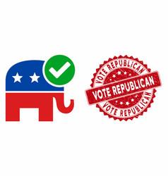 vote republican icon with grunge vote republican vector image