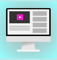 web page with video on monitor vector image
