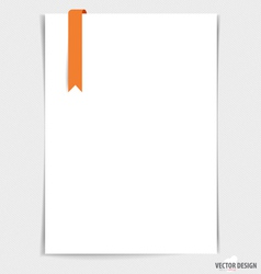 White paper with ribbon ready for your message vector