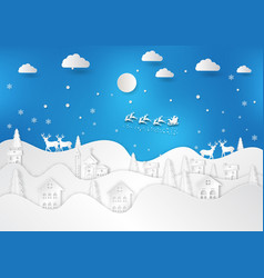 winter season with snowflake and santa of merry vector image