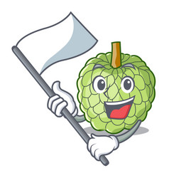 With flag ripe sugar apple fruit on mascot vector