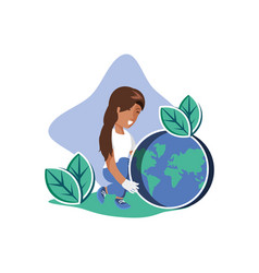 Woman avatar with planet design vector